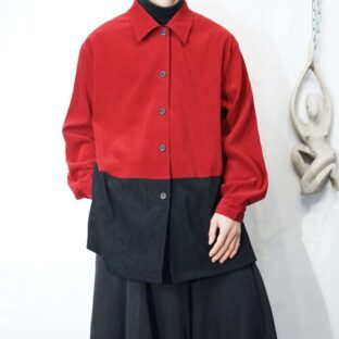 red × black bi-color fakesuede shirt *