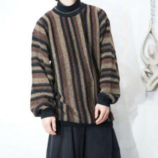 oversized black brown color wide stripe pattern knit *