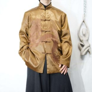 glossy brown dragon embroidery China shirt