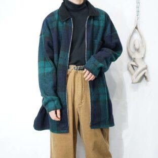 oversized check pattern boa collar fullzip shirt jacket *