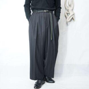 dark color wide stripe pattern 2tuck wide slacks *