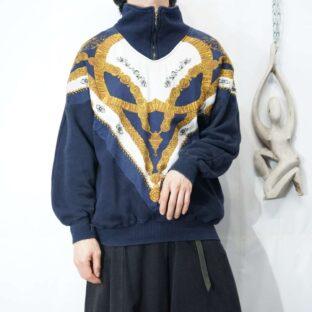 elegant silk pattern switching halfzip sweat *