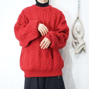 oversized red fisherman wide knit *