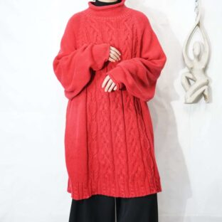 oversized red color roll neck cable knit *