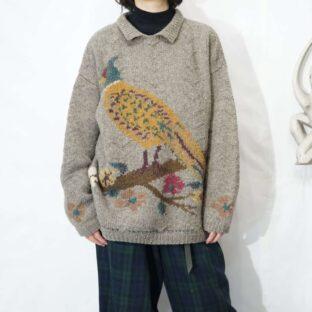 pheasant graphic design collar knit *