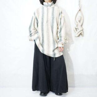 creamy color shadow stripe half zip pullover *