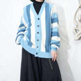 old cold color wide stripe cardigan