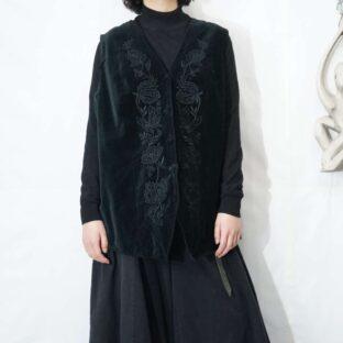 mode black velours embroidery design gilet vest *