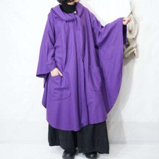 purple color scarf design double pocket poncho *