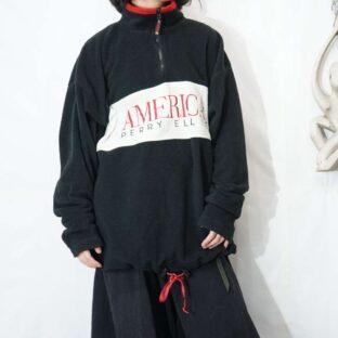 PERRY ELLIS embroidery design half zip fleece pullover *