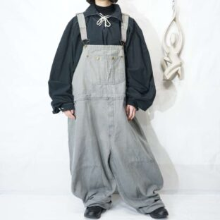 【KING SIZE】oversized light gray color double knee wide overall *