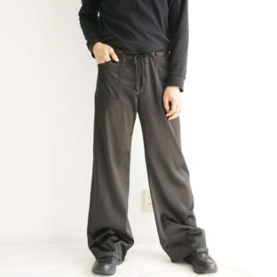 glossy black satin drawcode easy pants