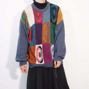 geometric pattern cold color knit