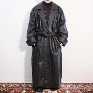 mode black leather maxi long coat