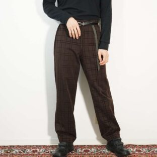 brown velour check pattern design pants