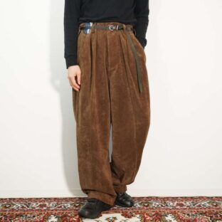 brown like velours faux suede 2tuck wide slacks