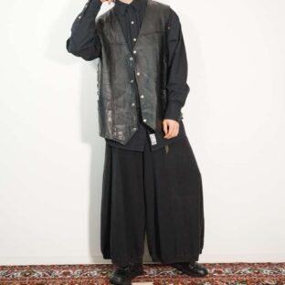 oversized XXXL side lace-up tsugihagi leather vest