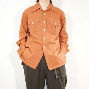 vintage terracotta brown poly shirt jacket
