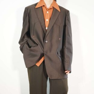 glossy bitter brown western tailored jacket