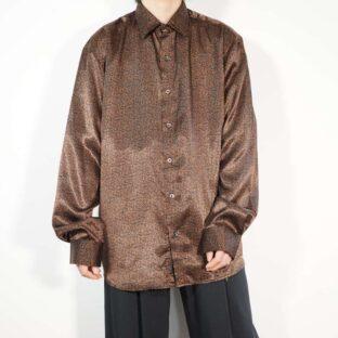 black × brown elegant pattern satin shirt