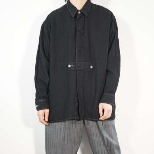 black overdye flyfront embroidery Tyrolean shirt