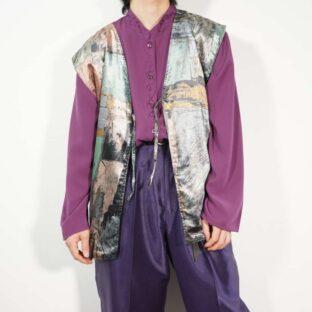 like glossy velours art pattern front ribbon vest