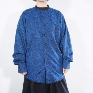 Wrangler blue × black full flower graphic band- collar shirt