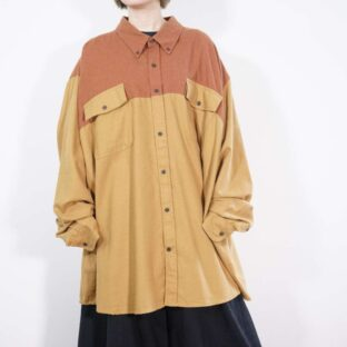 monster oversized brown × camel gimmick switching shirt