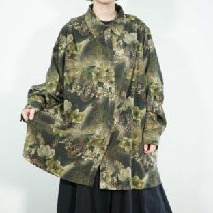 oversized green base elegant flower pattern faux suede shirt