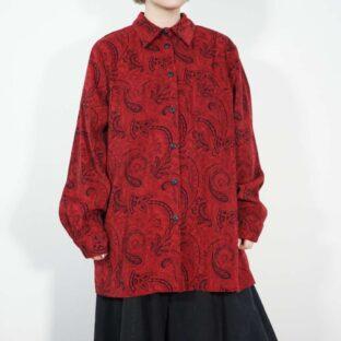 black × red arabesque pattern faux suede shirt