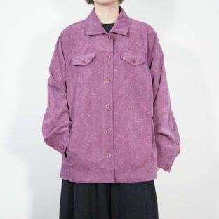 pale purple base glossy arabesque pattern faux suede shirt