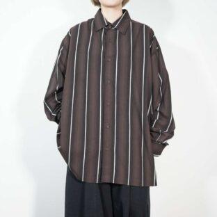 pierre cardin oversized gradation black brown stripe shirt