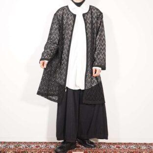 mesh see-through long haori jacket