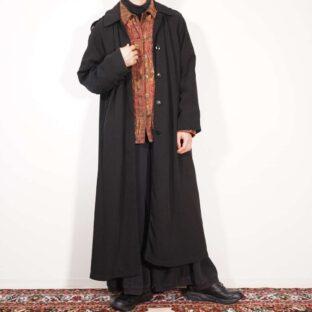 special gabardine mode black long coat