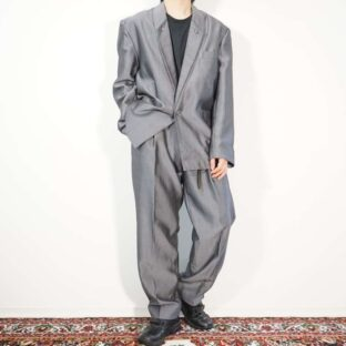glossy gray stripe pattern double lapel set up