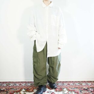 【C.P.COMPANY】pure white linen shirt