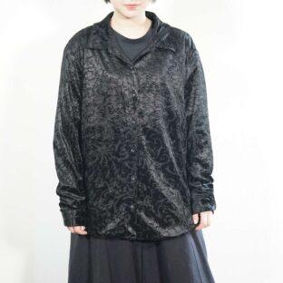 like see-through black elegant pattern pile shirt