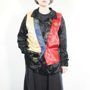 asymmetry switching China satin vest SIZE:2