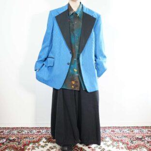 blue × black elegant pattern design tailored jacket