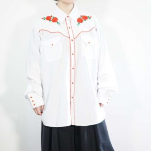 white × red flower embroidery western shirt
