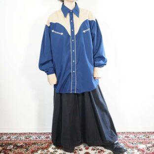 blue navy × beige switching western shirt