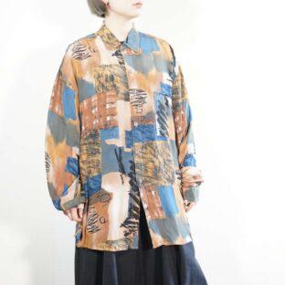 earth color × cold color mix art pattern shirt