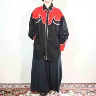 black × red switching western shirt
