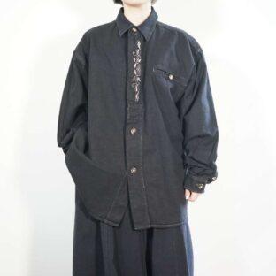 black overdye flyfront leaf embroidery Tyrolean shirt