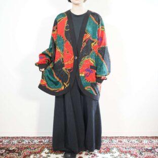 oversized black base scarf pattern glossy design haori