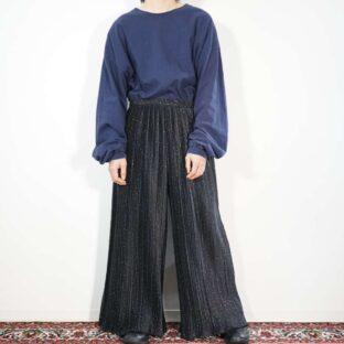 black × gold starry sky pattern pleats wide pants