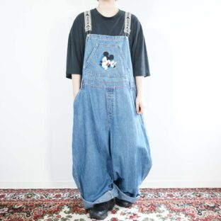 oversized Mickey embroidery wide denim overall