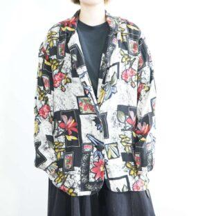 monotone base art flower pattern easy jacket