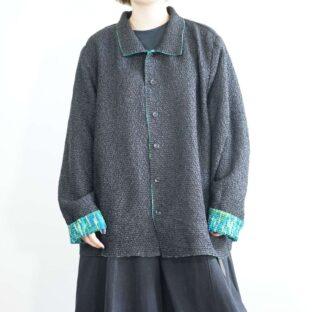 black × green mosaic pattern shrink cloth reversible shirt