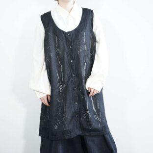 mesh see-through design black long vest